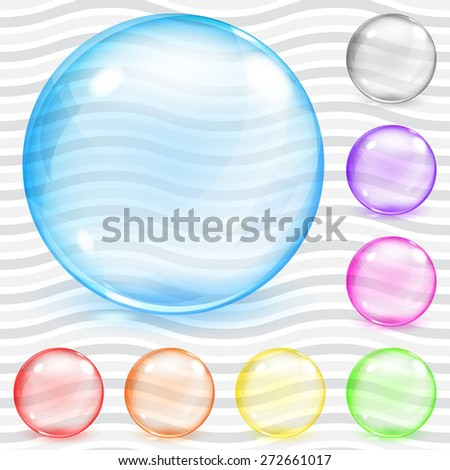 Set of multicolored transparent glass spheres with glares and shadows - stock vector