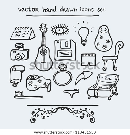 Set of multiple hand drawn icons, vector illustration - stock vector
