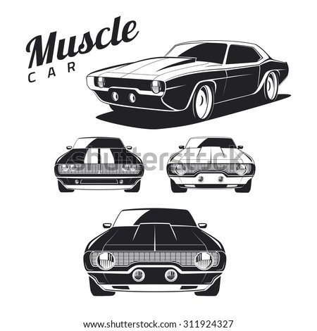 Set of muscle car templates for icons and emblems isolated on white background. Front view and isometric view. Car isolated on white background - stock vector