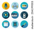 Set of music and sound icons. Vector sound stuff in flat modern style. - stock vector