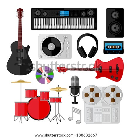 Set of music and sound objects isolated on white. Flat design. Vector illustration.  - stock vector
