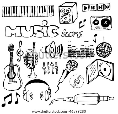 Set of music hand-drawn icons (vector) - stock vector