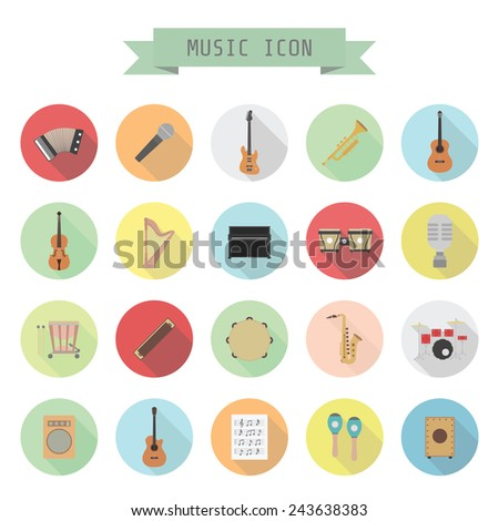 set of music icon, rock, acoustic, classical music, flat style - stock vector