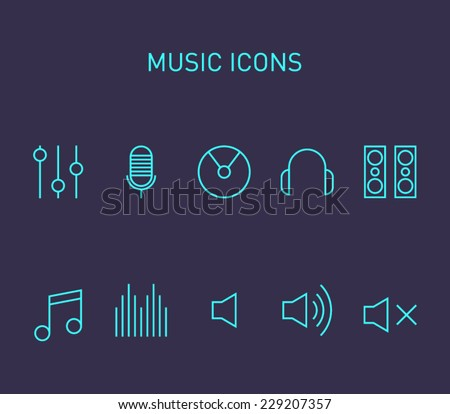 Set of music icons for smartphones, tablets, devices, user interface, applications. Equalizer, cd,  note, volume, headphones, microphone, speakers. Clean and modern style design - stock vector