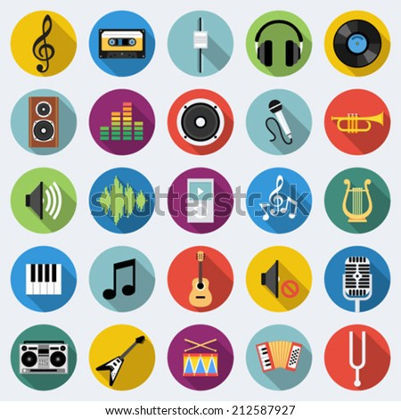 Set of music icons in flat design with long shadows - stock vector