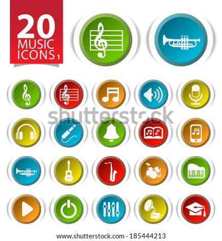 Set of 20 Music Icons on Circular Modern Buttons 1. - stock vector