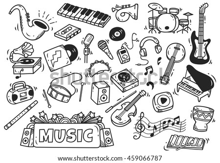 set of music instrument in doodle style - stock vector