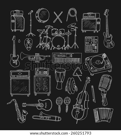 Set of Music Instruments. Hand drawn illustration in doodle style.Isolated - stock vector