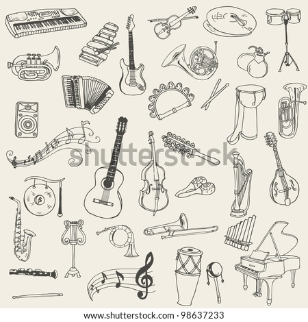 Set of Music Instruments - hand drawn in vector - stock vector