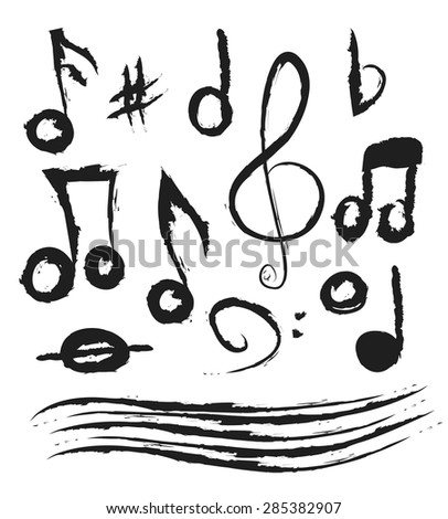 Set of music notes, doodle vector illustration - stock vector