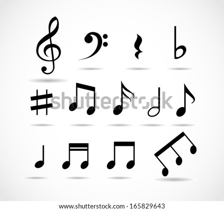Set of music notes vector - stock vector