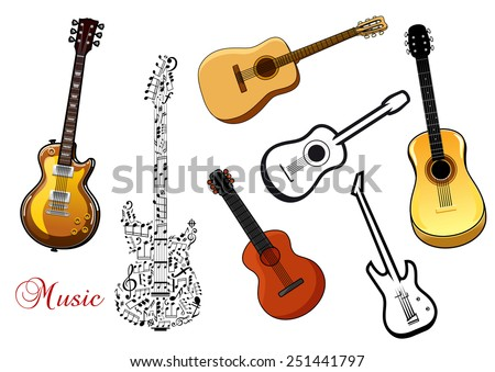 Set of musical guitar instruments in various shapes depicting acoustic and electric guitars and one formed of a pattern of music notes - stock vector