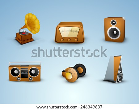 Set of Musical instrument on blue background. - stock vector