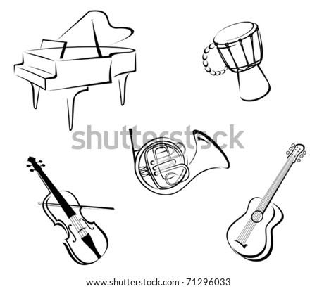 Set of musical instruments for music design - also as emblem or logo template. Jpeg version also available in gallery - stock vector