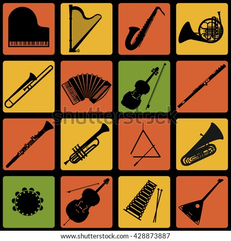 Set of musical instruments icons. Flat design instruments. - stock vector