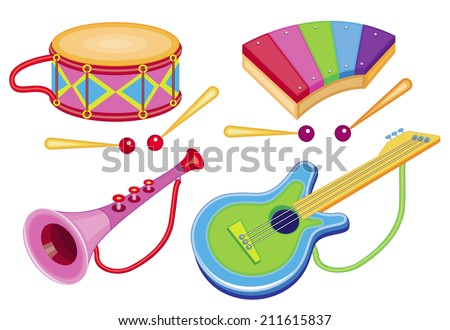 set of musical instruments isolated on white (vector illustration) - stock vector