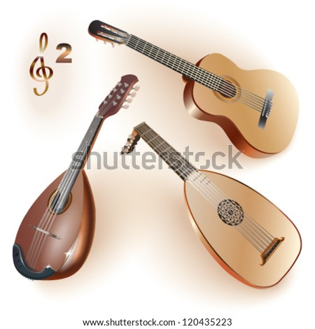 Set of musical instruments of the string family. Vector illustration. - stock vector
