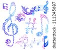 Set of Musical Notes Elements - in vector - stock vector
