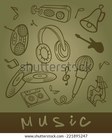 Set of musical objects. Stylized illustration of a tape recorder, microphone, music, guitar, headphones, audio cassettes, compact discs, speakers. - stock vector