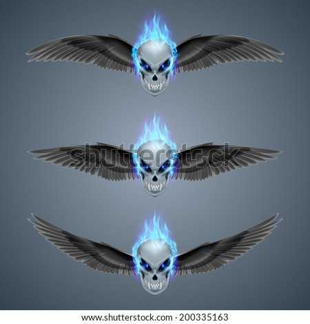 Set of mutant skulls with fangs, blue flame and black wings  - stock vector