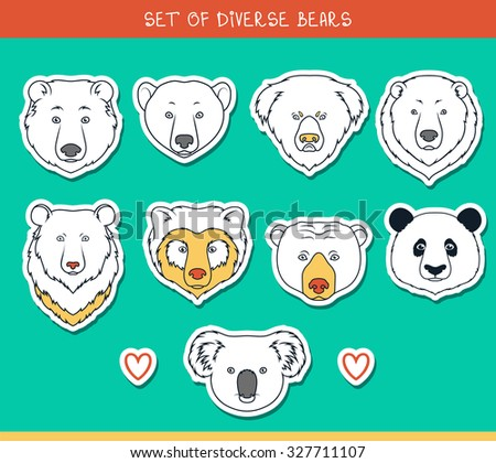 Set of 9 muzzles stickers bears handmade in linear style. Faces of bears. Color bears. Breeds of bears. Species of bears. American black bear. Bear set. Spectacled Bear. Asiatic bear. Panda, koala - stock vector