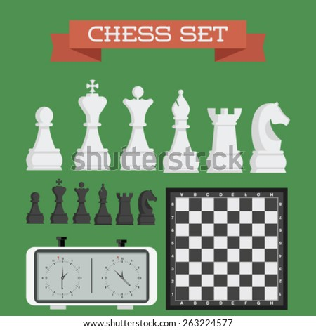 Set of named chess piece vector icons - stock vector