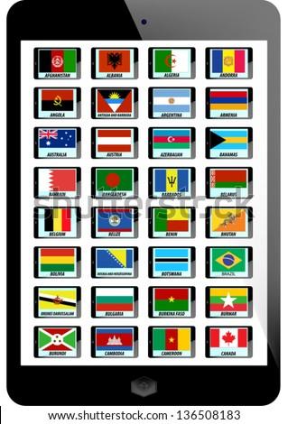 set of nation flag on tablaet background - stock vector