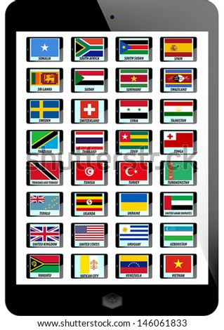 set of nation flag on tablet background - stock vector
