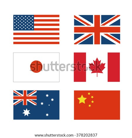 set of National flag of Japan, China, America, Australia, Canada and England - stock vector