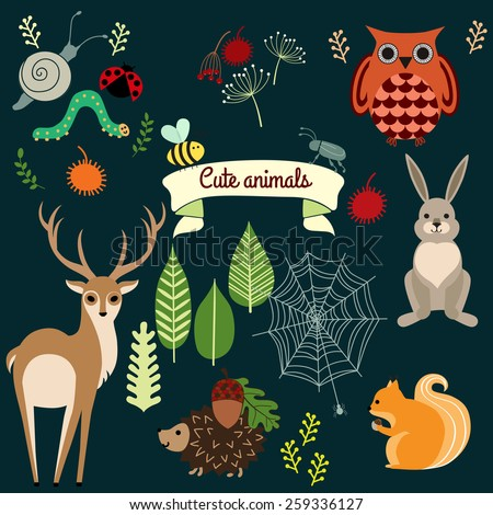 Set of nature and animals. Elements for design - stock vector