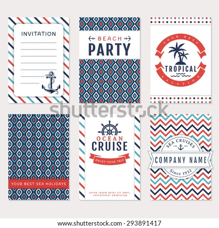 Set of nautical and marine banners and flyers. Card templates in white, blue and red colors. Sea theme. Vector collection.  - stock vector