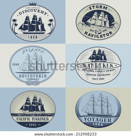 Set of nautical and maritime adventure vector labels.Logotype templates and badges with ships,waves and other design elements. Ocean and sea exploration,marine tourism and cargo transportation symbols - stock vector