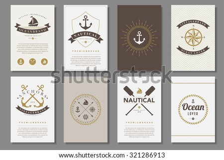Set of  nautical brochures in vintage style .Vector eps10 - stock vector