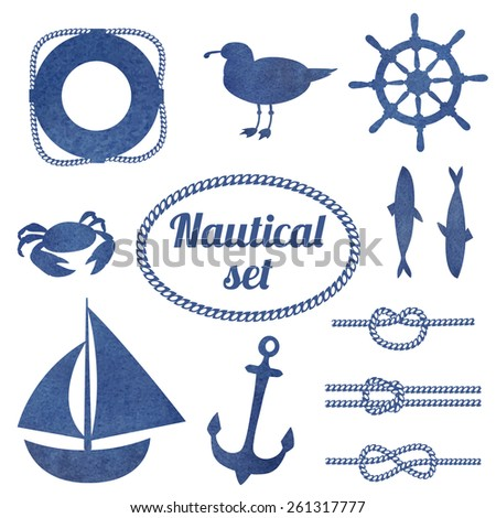 Set of nautical design elements. Watercolor hand drawn isolated objects. Knots, boat, anchor, gull, fish. - stock vector
