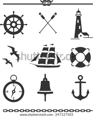 Set of nautical icons and design elements in silhouette - stock vector
