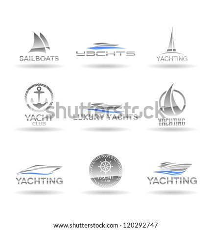 Set of  nautical  icons. Yachts and sailboats. Vol 1. - stock vector