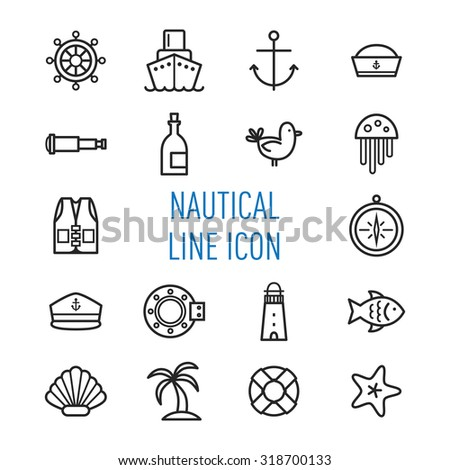 set of nautical line icon isolated on white background - stock vector