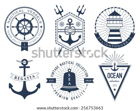 Set of nautical logos, badges and labels - stock vector