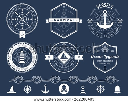 Set of nautical logos, badges and labels on blackboard - stock vector