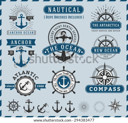 Set of Nautical, Navigational, Seafaring and Marine insignia logotype vintage design with anchor, rope, steering wheel, starburst, sunburst element |  Only Free Font Used, Vector illustration  - stock vector