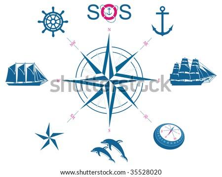 Set of nautical vector symbols - stock vector