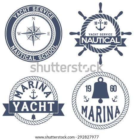 Set of Nautical Yacht badges. Vector Illustration isolated on white background. - stock vector