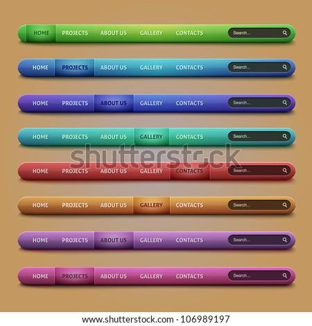 Set of 8 navigation bars for your website on brown background - stock vector