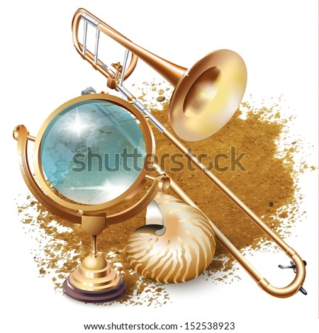Set of navigation tools and a classical trombone, isolated on white background - stock vector