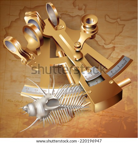 Set of navigation tools and a shell. Vector illustration - stock vector