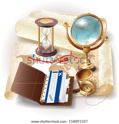 Set of navigation tools, organizer and a flight ticket, isolated on grunge background with a map - stock vector