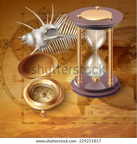 Set of navigation tools with a shell. Vector illustration - stock vector