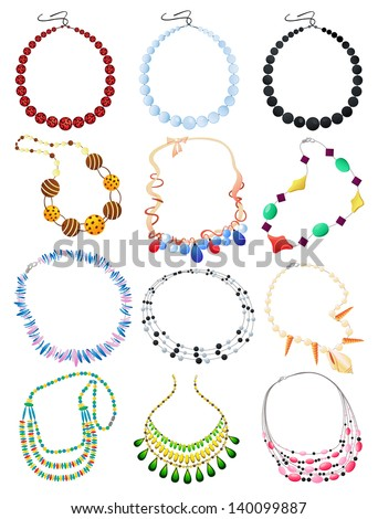 Set of necklaces isolated on white background - stock vector