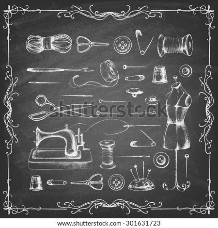 Set of needlework - scissors, measuring tape, mannequin, sewing on the chalkboard . Retro vintage style. Vector illustration. - stock vector