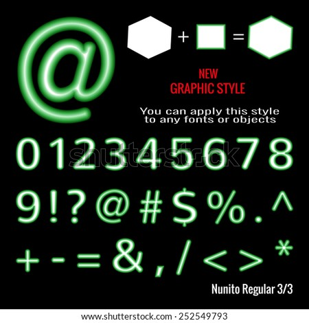 Set of neon letters and neon graphic style. You can apply this style to any fonts and objects, vector. EPS 10. - stock vector